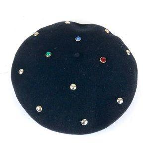 Vintage 80s 90s black felt jewel studded beret